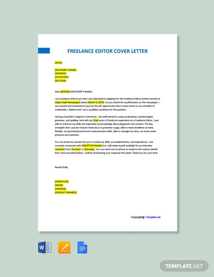 Free Freelance Editor Cover Letter Template