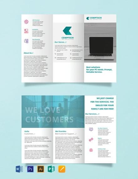 Free Computer Repair Tri-fold Brochure Template