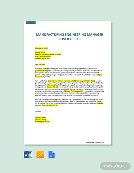Free Manufacturing Engineering Manager Cover Letter Template
