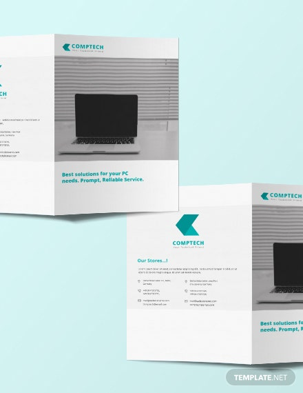 Computer service bi fold brochure template download 151 for Bi fold brochure template illustrator