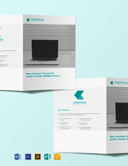 Free Computer Service Bi-fold Brochure Template