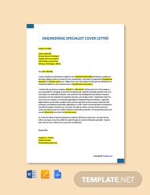 Free Engineering Specialist Cover Letter Template