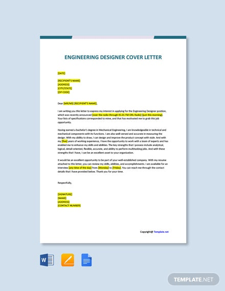 Free Engineering Designer Cover Letter Template