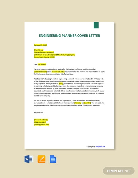 Free Engineering Planner Cover Letter Template