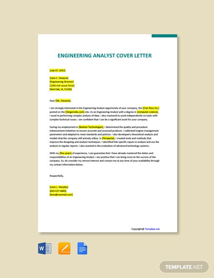 Free Engineering Analyst Cover Letter Template