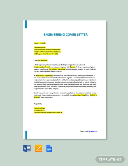 Engineering Cover Letter Template