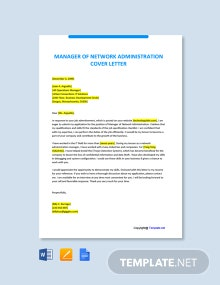 Free Manager of Network Administration Cover Letter Template