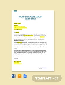Free Computer Network Analyst Cover Letter Template
