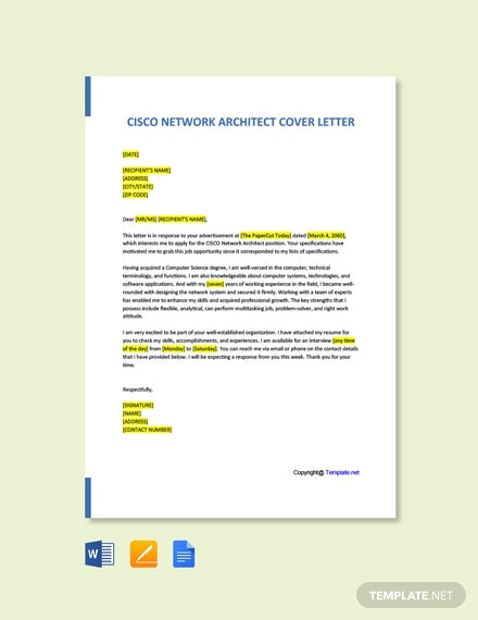 Free Cisco Network Architect Cover Letter Template
