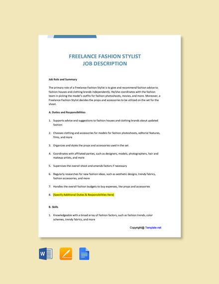 free freelance fashion stylist sample job ad  description