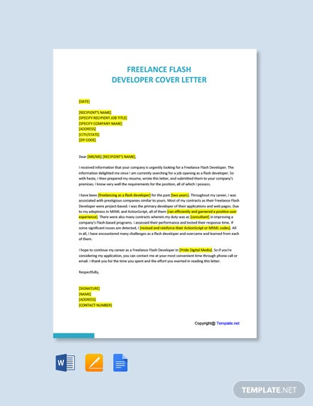 Free Freelance Flash Developer Cover Letter Template