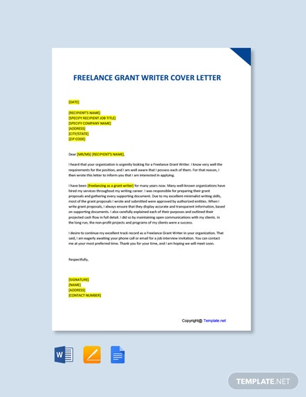Freelance Grant Writer Cover Letter Template