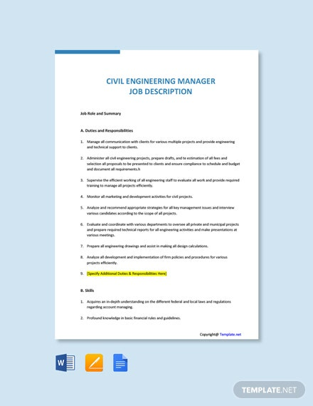 Free Civil Engineering Manager Job Description Template