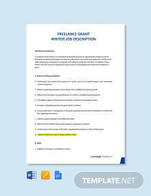 Free Freelance Grant Writer Job Description Template