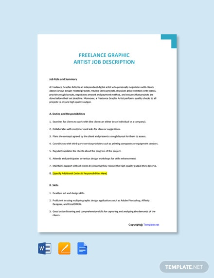 Free Freelance Graphic Artist Job Description Template