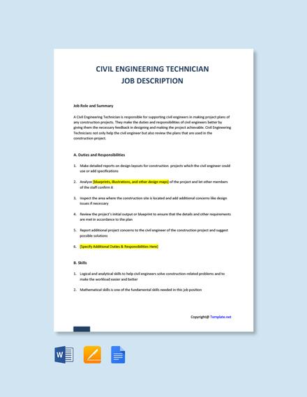 Free Civil Engineering Technician Job Description Template