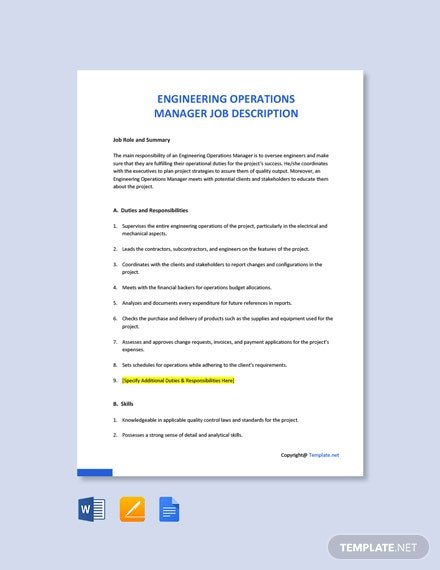 Free Engineering Operations Manager Job Ad/Description Template