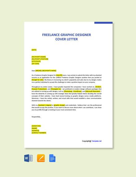 Free Freelance Graphic Designer Sample Cover Letter Template