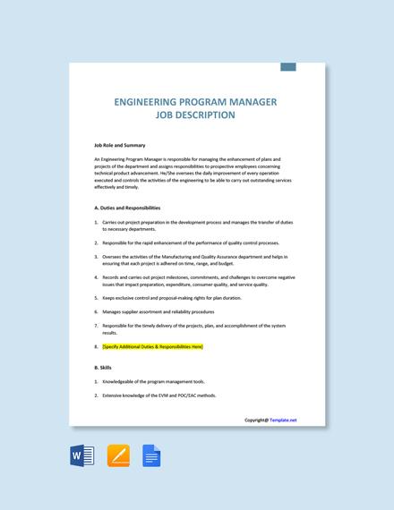 Free Engineering Program Manager Job Description Template