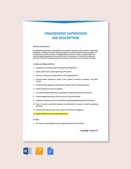 Free Engineering Supervisor Job Ad/Description Template