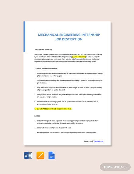 Free Mechanical Engineering Internship Job Description Template
