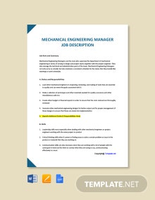 Free Mechanical Engineering Manager Job Ad/Description Template
