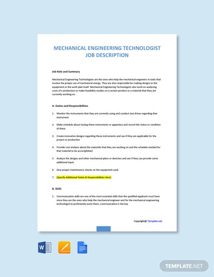 Free Mechanical Engineering Technologist Job Ad/Description Template
