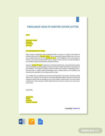 Free Freelance Health Writer Cover Letter Template