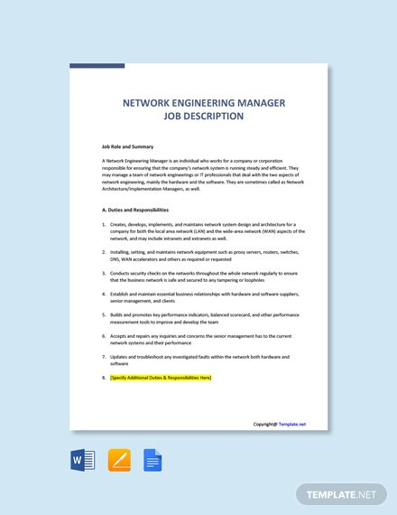 Free Network Engineering Manager Job Description Template