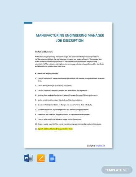 Free Manufacturing Engineering Manager Job Description Template