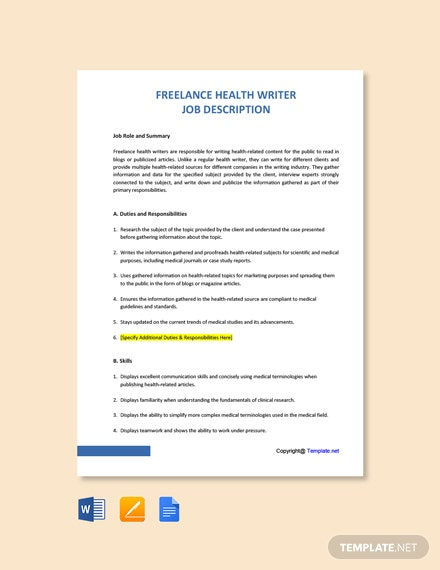 Free Freelance Health Writer Job Ad/Description Template