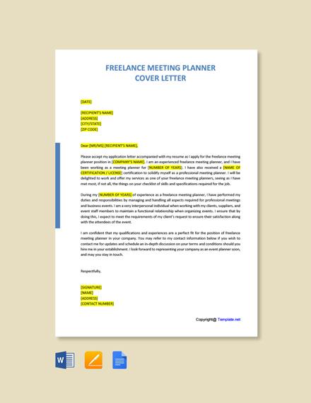 Freelance Meeting Planner Cover Letter Template