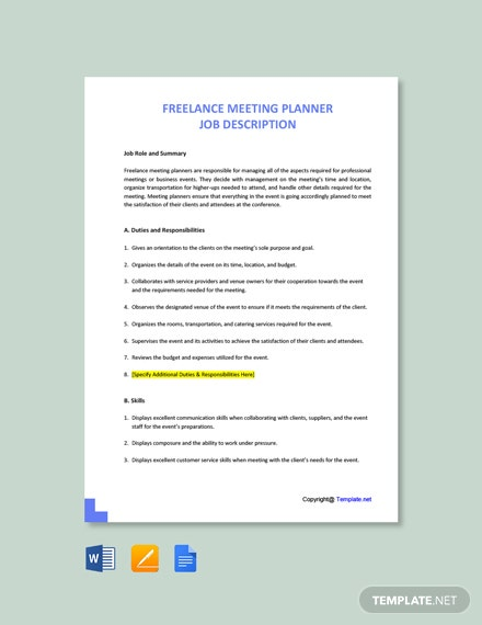 Free Freelance Meeting Planner Job Ad/Description Template