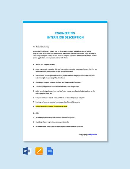 Free Engineering Intern Job Ad/Description Template