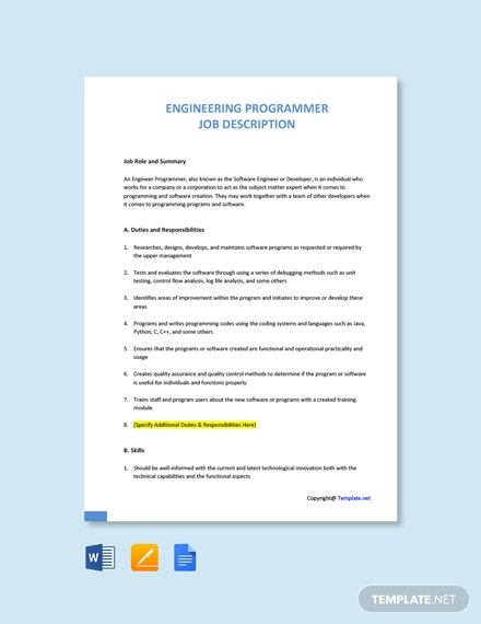 Free Engineering Programmer Job Ad/Description Template