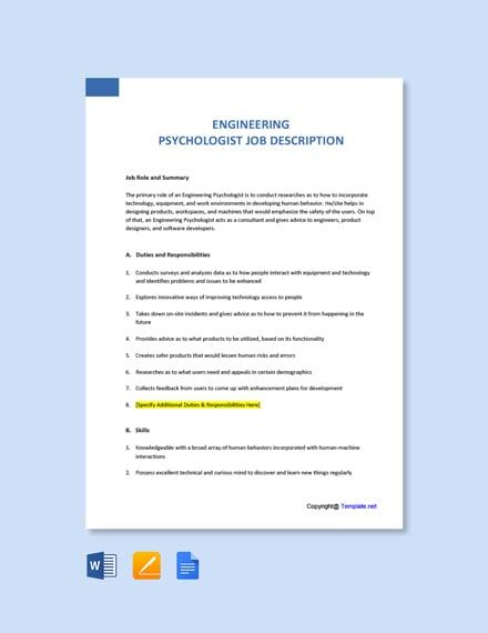 Free Engineering Psychologist Job Ad/Description Template