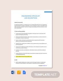 Free Engineering Specialist Job Ad and Description Template