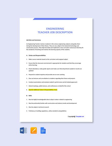 Free Engineering Teacher Job Description Template