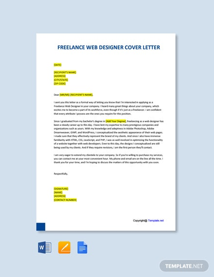 Free Freelance Web Designer Cover Letter Word Google Doc Apple Mac Pages Template Net