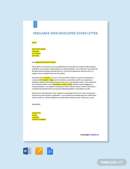 Free Freelance Web Developer Cover Letter Template