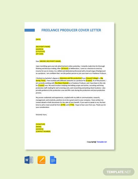 Free Freelance Producer Cover Letter Template