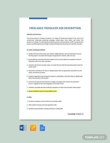 Free Freelance Producer Job Ad and Description Template
