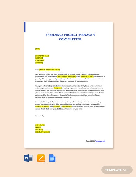 Freelance Project Manager Cover Letter Template