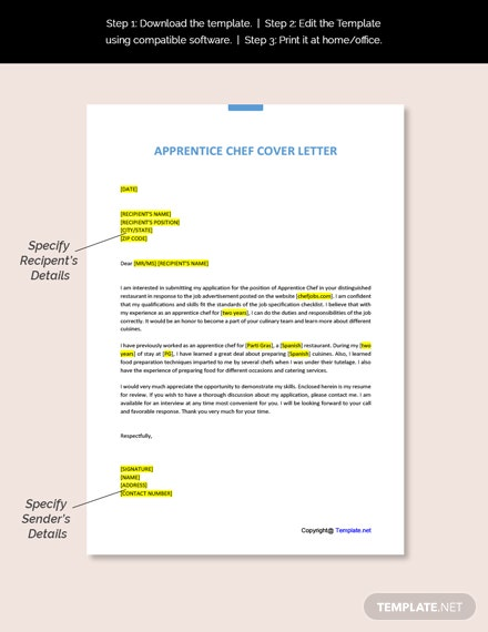 Apprentice Chef Cover Letter Template Free Pdf Google Docs Word Apple Pages Template Net