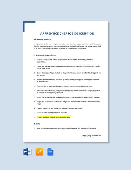 Free Apprentice Chef Job Description Template
