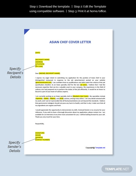 Asian Chef Cover Letter Template