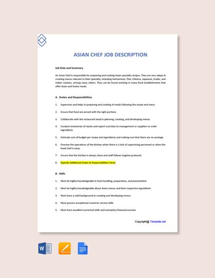 Free Asian Chef Job Description Template