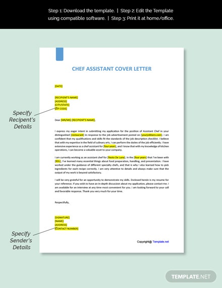 Chef Assistant Cover Letter Template