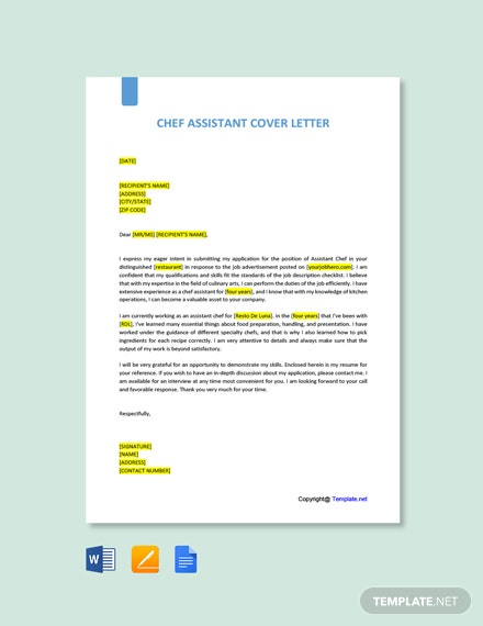 FREE Commis Chef Cover Letter - Word | Google Doc | Apple ...