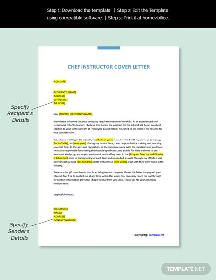 Chef Instructor Cover Letter Template